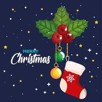 meia de natal com folhas decorativas e bolas. banner pendurado de celebração de ano novo e feliz natal vetor