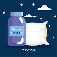 pílulas para insônia, design de vetor de frasco e travesseiro