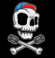 ossos cruzados da bicicleta do crânio vetor