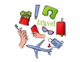 fundamentos de viagem voando em um avião em estilo cartoon vetor
