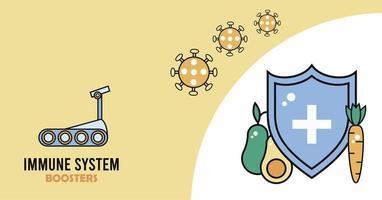 escudo de reforço do sistema imunológico com partículas covid19 e vegetais vetor