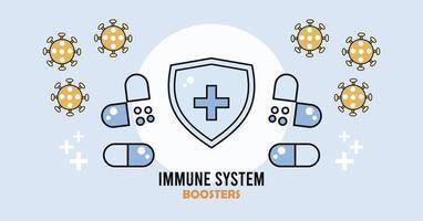escudo de reforço do sistema imunológico com cápsulas de drogas vetor
