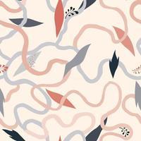 padrão floral sem costura com folhas caem natureza ornamental fundo desenhado fundo abstrato com linhas caóticas fluindo contorcendo e folhas vetor