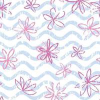 padrão de onda floral sem costura com flores desenhadas ornamento rabisco elegante desenho pano de fundo textura infantil abstrata vetor