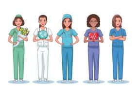 cinco personagens enfermeiras vetor