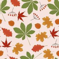 padrão sem emenda de folhas coloridas vetor