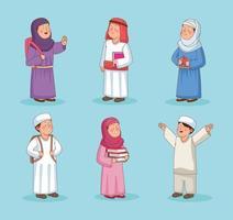 pacote de estudante muçulmano vetor