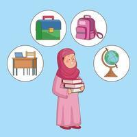 linda garota muçulmana com material escolar vetor