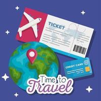 tempo para viajar, desenho vetorial de passagem, mundo e cartão de crédito vetor