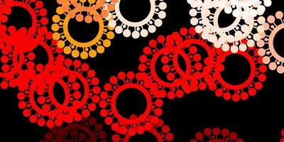fundo de vetor vermelho escuro com símbolos de vírus