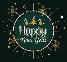 feliz ano novo com pinheiros em selo de carimbo e desenho vetorial de flocos de neve vetor