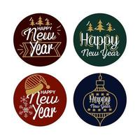 feliz ano novo com desenho vetorial de selos vetor