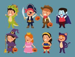 garotinhos fofos vestidos como personagens diferentes vetor