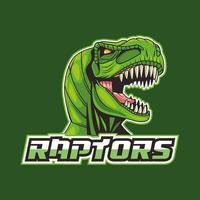 Tiranossauro rex animal cabeça selvagem com letras de raptores vetor