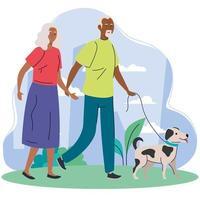 velho casal afro caminhando com cachorro de estimação no parque vetor