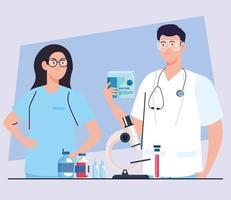 pesquisa de vacinas médicas. dois médicos com suprimentos de laboratório no desenvolvimento da vacina contra o coronavírus covid19 vetor
