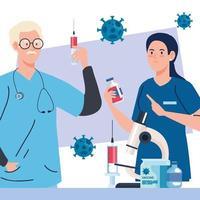 pesquisa de vacinas médicas. dois médicos com instrumentos de laboratório no desenvolvimento da vacina contra o coronavírus covid19 vetor
