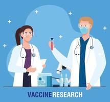 pesquisa de vacinas médicas. casal de médicos, profissionais no desenvolvimento da vacina contra o coronavírus covid19 vetor