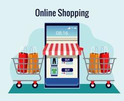 compras online com fachada de loja em smartphone e carrinhos vetor