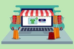 tecnologia de compras online em laptop com sacolas e carrinhos de compras vetor