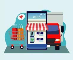 tecnologia de compras online com smartphone e caminhão de entrega vetor