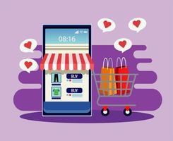 tecnologia de compras online com fachada de loja em smartphone e carrinho vetor