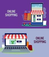 tecnologia de compras online em smartphone e laptop com carrinho vetor