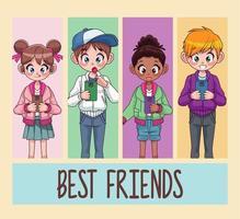 melhores amigos dos filhos dos jovens adolescentes inter-raciais usando smartphones vetor