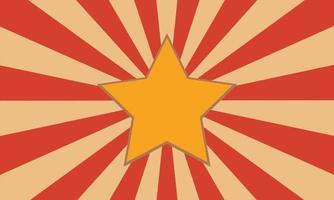 fundo retro vermelho e amarelo com estrela vetor