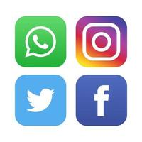 ícones de mídia social do Facebook Whatsapp Instagram Logotipos do Facebook vetor
