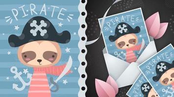 cartão postal de ideia de preguiça pirata vetor
