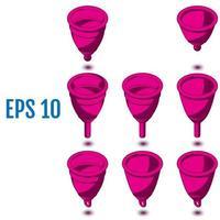 copos menstruais isométricos diferentes copos menstruais de silicone vetor