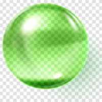 esfera de vidro verde realista esfera verde transparente vetor