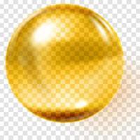 esfera de ouro transparente esfera dourada de vidro realista vetor