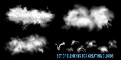 névoa de vapor nuvem de fumaça um conjunto de elementos para criar vetor