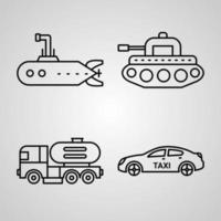 ícone de transporte definido ilustração vetorial eps vetor