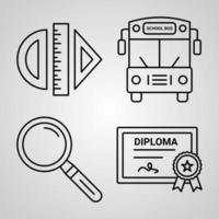 educação e aprendizagem coleção de símbolos em fundo branco ícones de contorno de educação e aprendizagem vetor