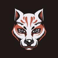 ilustração estilo japonês kitsune raposa vetor