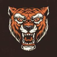 ilustração desenhada à mão da cabeça do tigre vetor