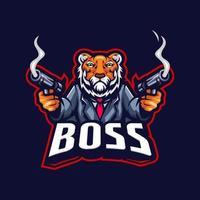 logotipo do chefe do tigre vetor