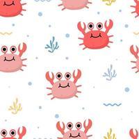 padrão sem emenda com caranguejo fofo e algas marinhas vetor