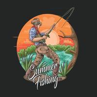 ilustração de recreação e passatempo de pesca de verão vetor