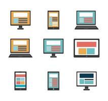 pacote de computadores e dispositivos tecnológicos vetor