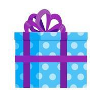 caixa de presente azul claro com fita grande e laço vetor