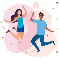 casal feliz, mulher e homem pulando, celebrando o feriado vetor