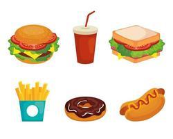 conjunto de deliciosos ícones de fast food vetor