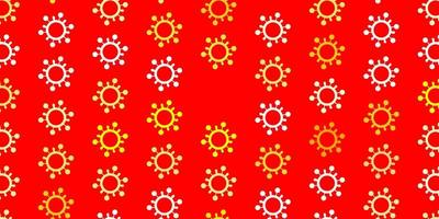 padrão de vetor laranja claro com elementos de coronavírus