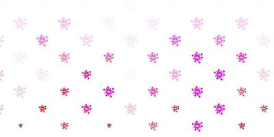 padrão de vetor rosa claro com elementos de coronavírus