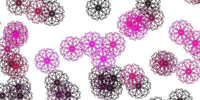 padrão de doodle de vetor rosa claro com flores