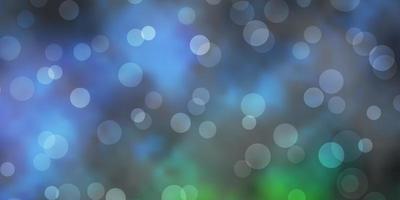 pano de fundo de vetor verde azul escuro com círculos abstratos discos coloridos em design de fundo gradiente simples para banners de cartazes